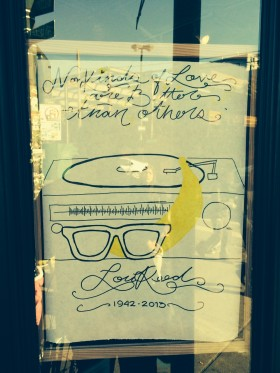 "Velvet Underground lyrics posted on the window of the Bedford Cheese Shop yesterday: ""No kinds of love are better than others."""