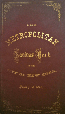 The cover of the 1872 Annual Trustees Report