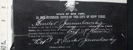 Sender Jarmulowsky's naturalization papers, 1876.