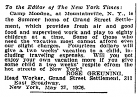 Gruening sought funds for Camp Moodna (New York Times 1926).