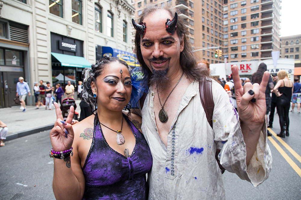 """At left, Indigo. Right, a man who, when asked, said """"I think you know already."""" (Photo: Nicole Disser)"""