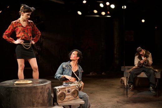 Eve Lindley (Jaime), JP Moraga (Angela) and Victor Almanzar (Terrence) (photo: Ted Alcorn)