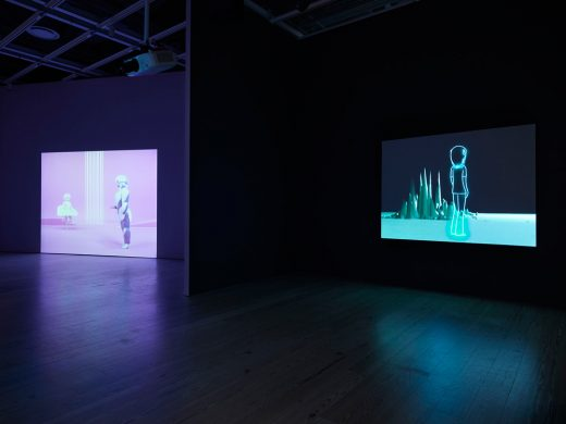 "Installation view of ""Dreamlands: Immersive Cinema and Art, 1905-2016"" (Whitney Museum of American Art, New York, October 28, 2016-February 5, 2017). Oskar Schlemmer, Das Triadische Ballett [Triadic Ballet], (1922/1970) E.2016.0044; Pierre Huyghe, One Million Kingdoms, (2001) E.2016.0050. Photography by Ronald Amstutz."