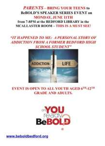 *Media Advisory* Bedford Police Invite Parents and Teens to BeBold Speaker Series Event