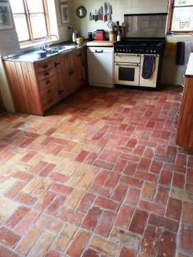 20 Year old hand made brick floor After Cleaning in Wrestlingworth