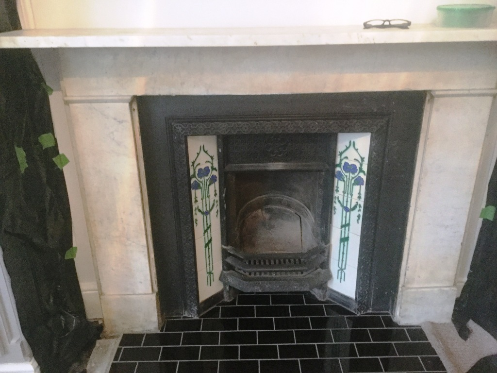 Marble Fireplace Before Cleaning Bedford