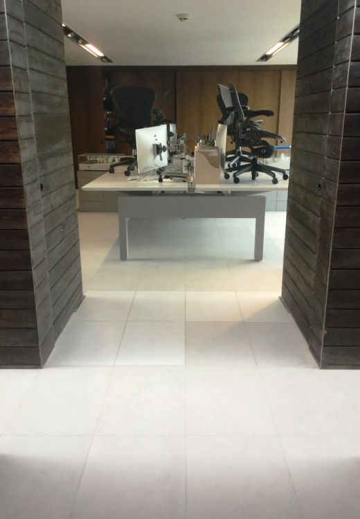 Polished Limestone Office Floor After Refinishing in Maulden