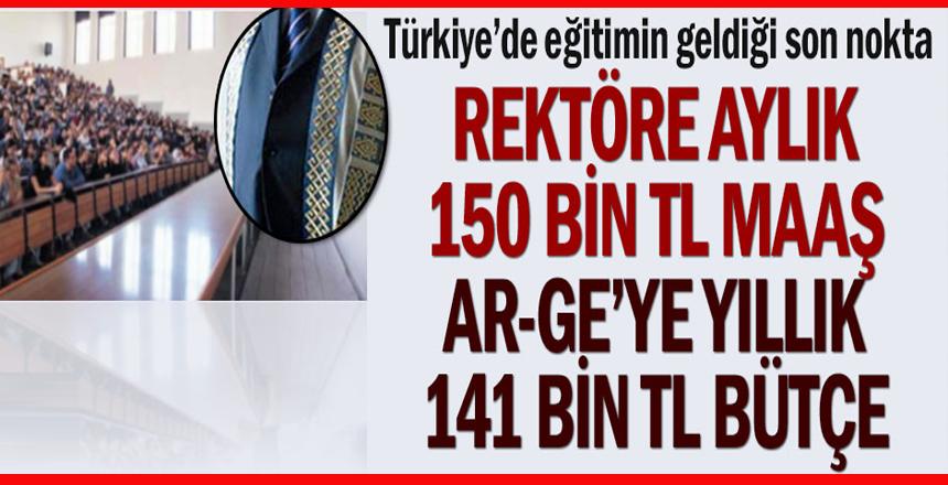 Türkiye'de eğitimin geldiği son nokta… Rektöre aylık 150 bin TL maaş, Ar-Ge'ye yıllık 141 bin TL bütçe