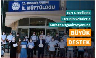 TDV'nin Vekaletle Kurban Organizasyonu'na destek yağıyor
