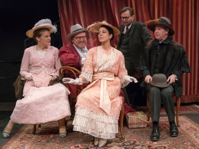The cast of Pygmalion, Five actors on stage in Victorian Period Costumes