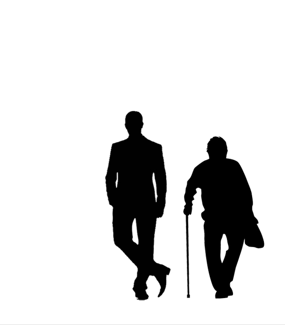 """""""Man and Superman"""" benefit reading poster with silhouette of young man and old man"""