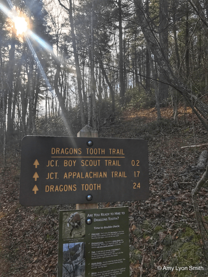 Sign for Dragons Tooth Trail