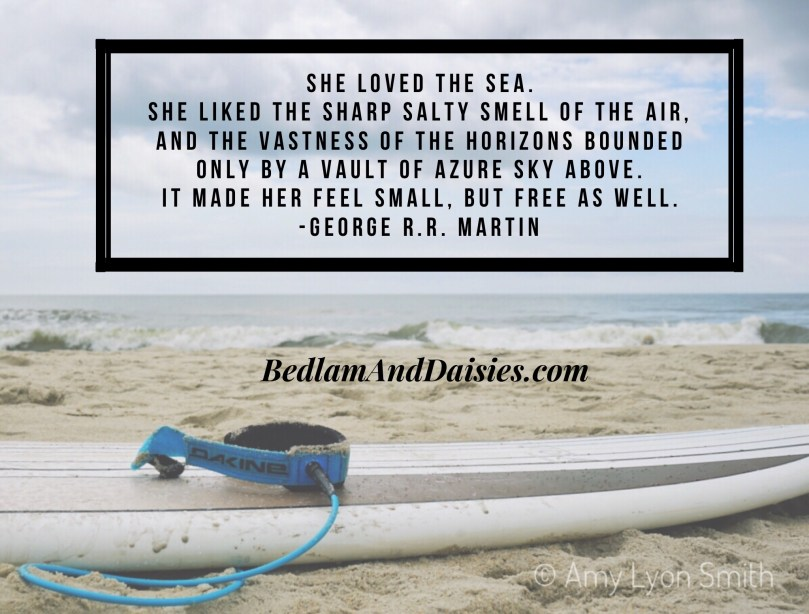 She loved the sea. She liked the sharp salty smell of the air, and the vastness of the horizons bounded only by a vault of azure sky above. It made her feel small, but free as well. - George R.R. Martin
