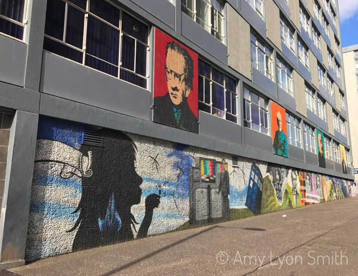 Mural on the University of Strathclyde Grahams Hill Building in Glasgow, Scotland