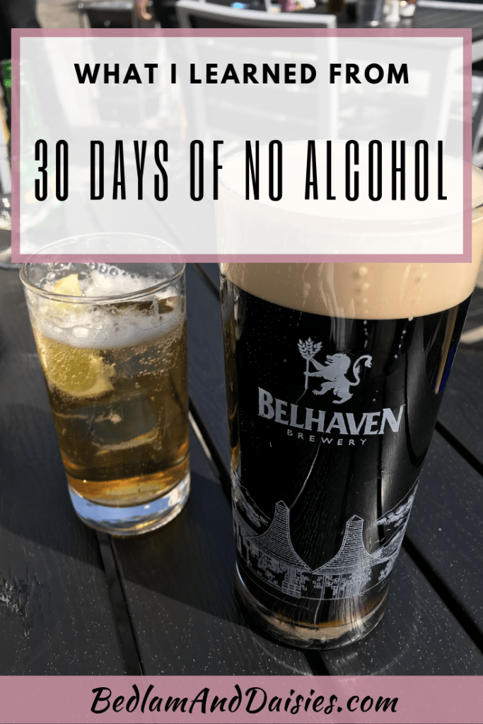 30 days of no alcohol. Nope. That's what I thought when I read about it. But I'm always up for a good challenge and I even learned a few lessons.