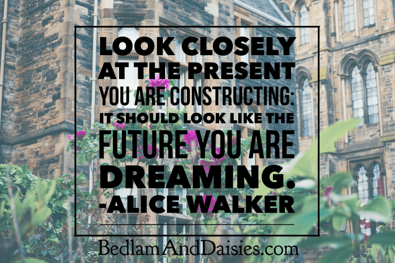 Look closely at present you are constructing: it should look like the future you are dreaming. -Alice Walker
