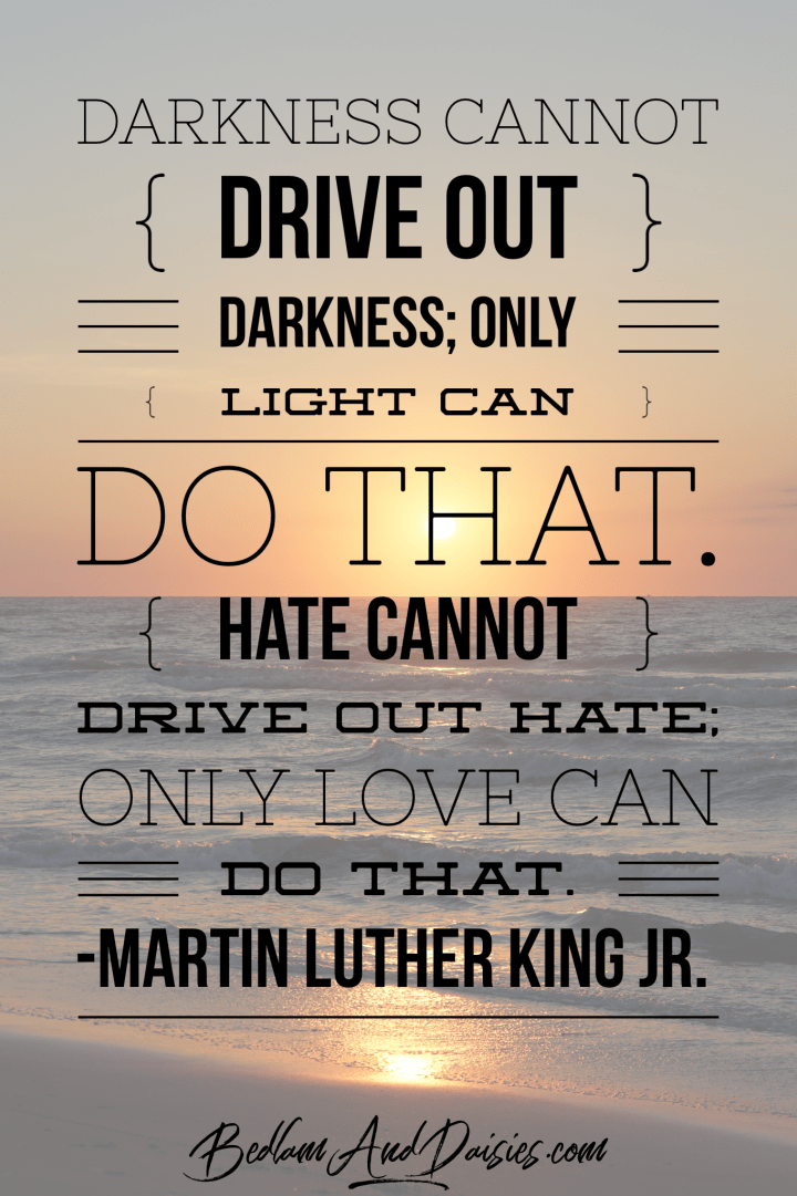 Darkness cannot drive out darkness; only light can do that. Hate cannot drive out hate; only love can do that. - Martin Luther King Jr. quote