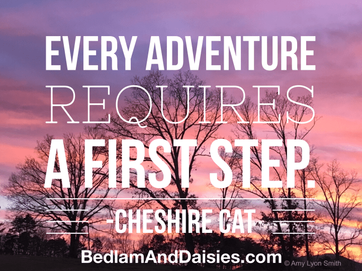 Every Adventure Requires A First Step - Cheshire Cat photo quote