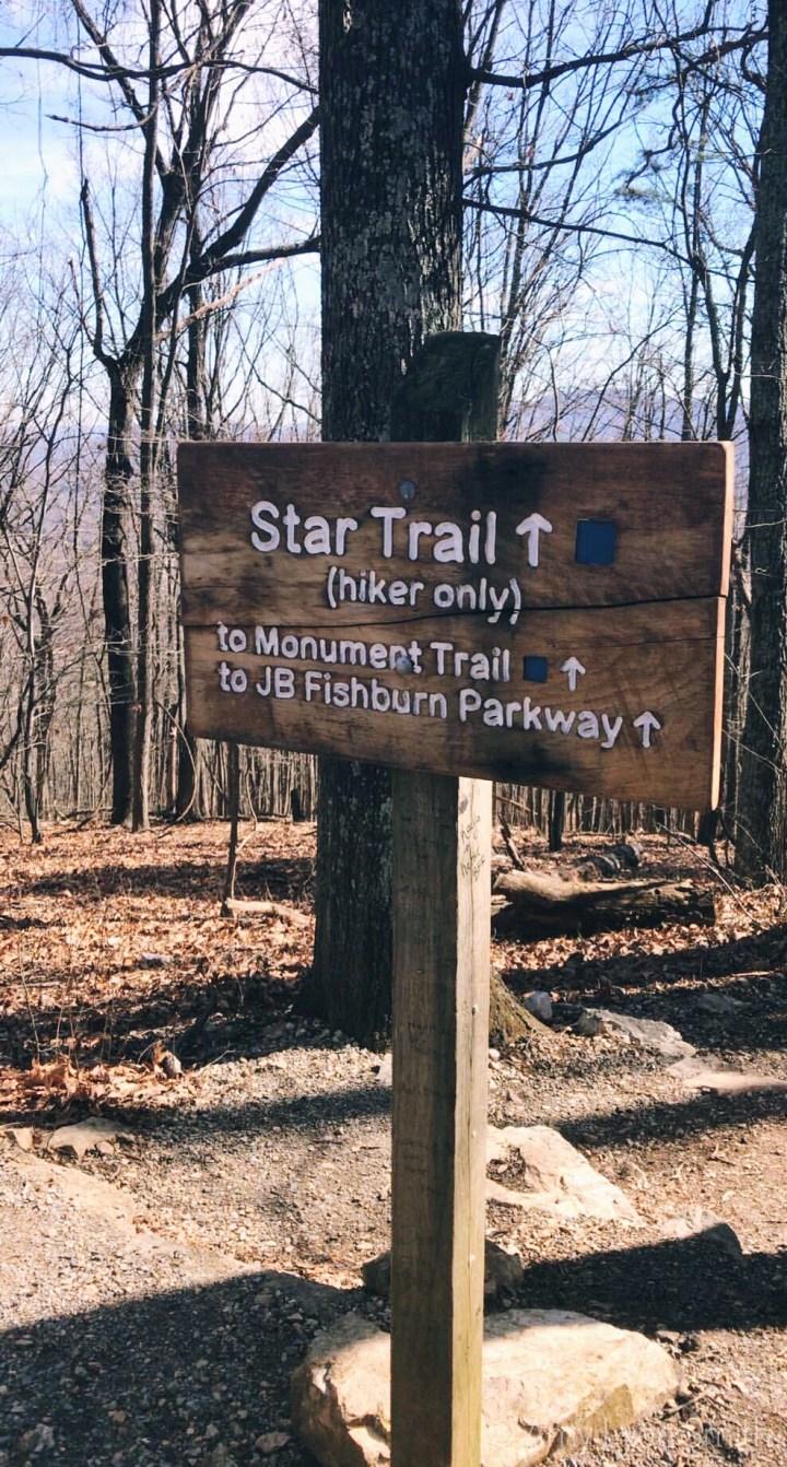 Mill Mountain Star Trail sign in Roanoke, Virginia