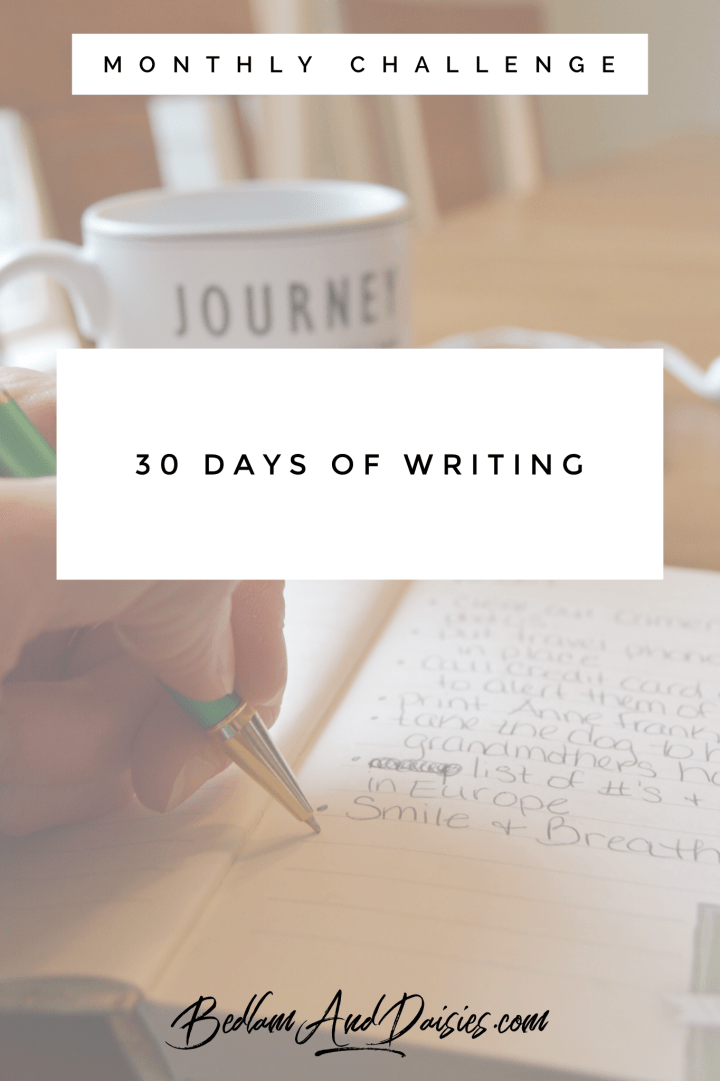30 days of writing monthly challenge