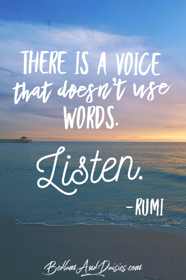 There is a voice that doesn't use words. Listen. Rumi quote