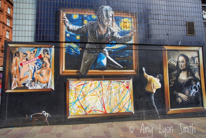 The Gallery mural in Glasgow Scotland. Pollack, da Vinci, Van Gogh, Picasso.