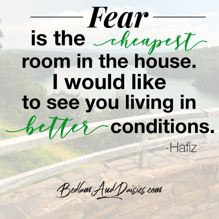Fear is the cheapest room in the house. I would like to see you living in better conditions. - Hafiz