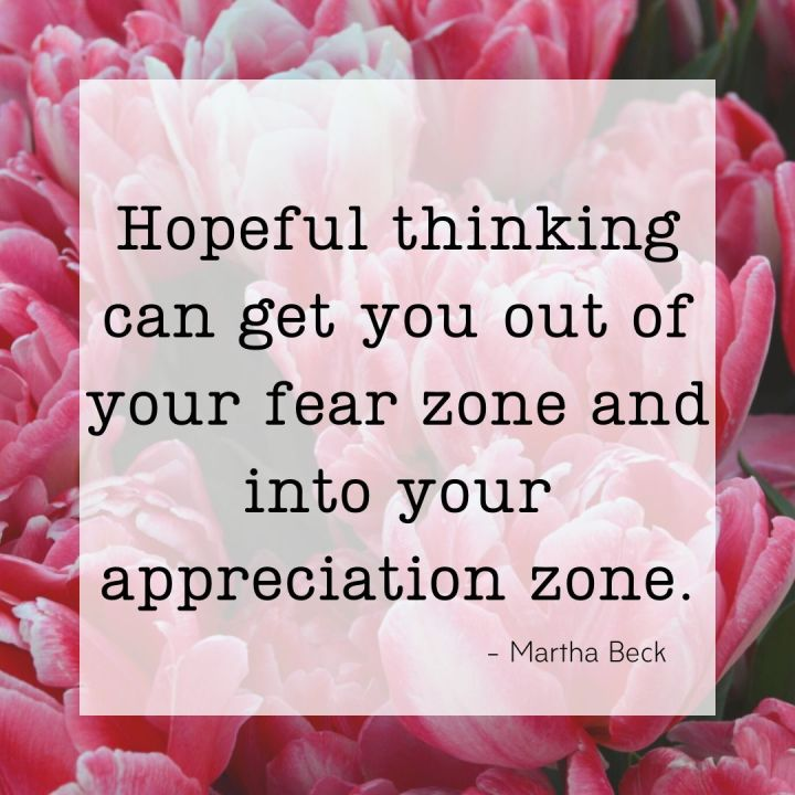 Hopeful thinking can get you out of your fear zone and into your appreciation zone. - Martha Beck