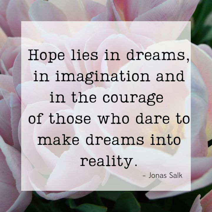 Hope lies in dreams, in imagination and in the courage of those who dare to make dreams into reality. -Jonas Salk