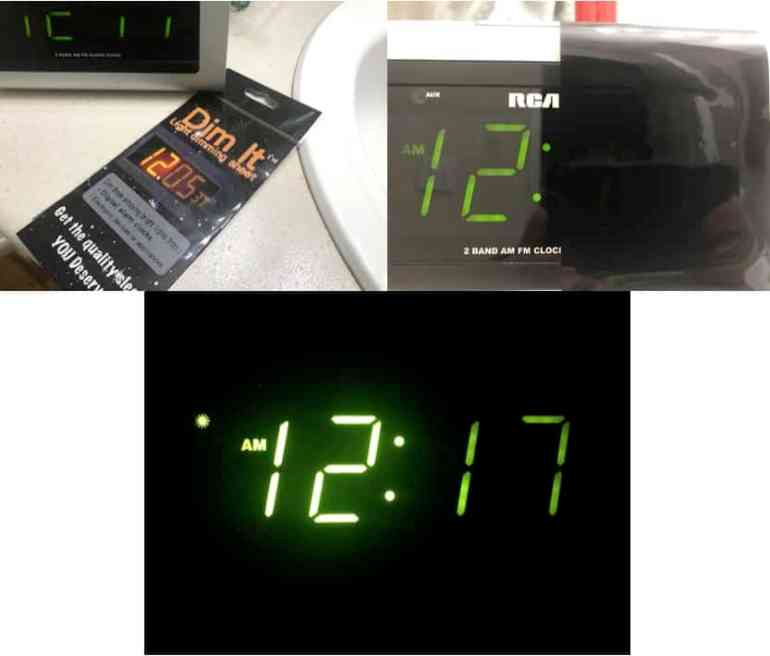 showing dim it sheets on clock