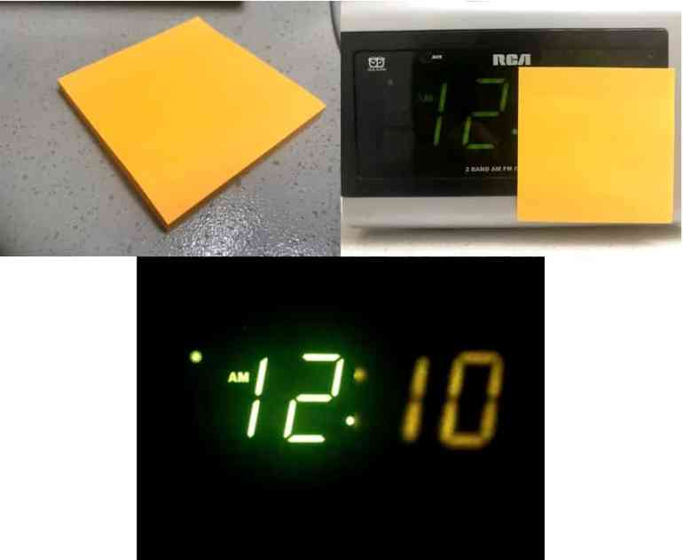 Sticky notes don't work well for the bright LEDs  DIMMABLE SLIDER Heavy sleepers Low volume  High volume 9 minute snooze Wake up Easy to see in daylight Battery backup Time Brightness level