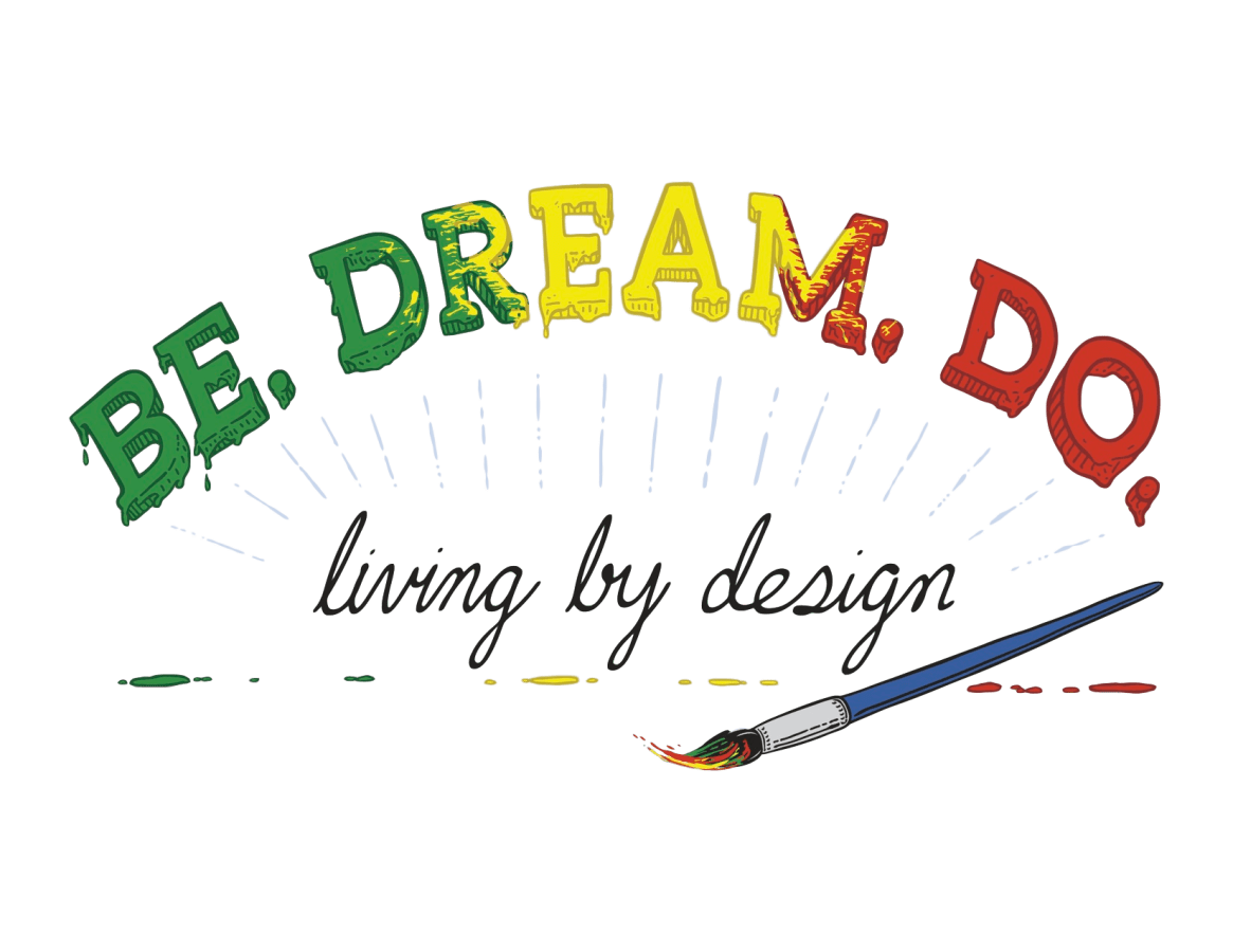 Be Dream Do Logo. Colorful logo of Be Dream Do with underline slogan of Living by design