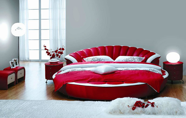 Por Modern Leather King Size Round Bed