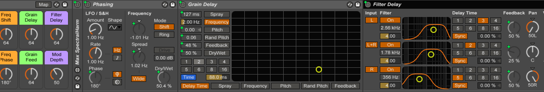 A typical effects rack in Ableton Live.