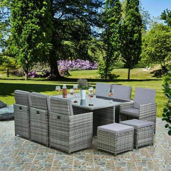 11pc cube rattan garden furniture black or brown
