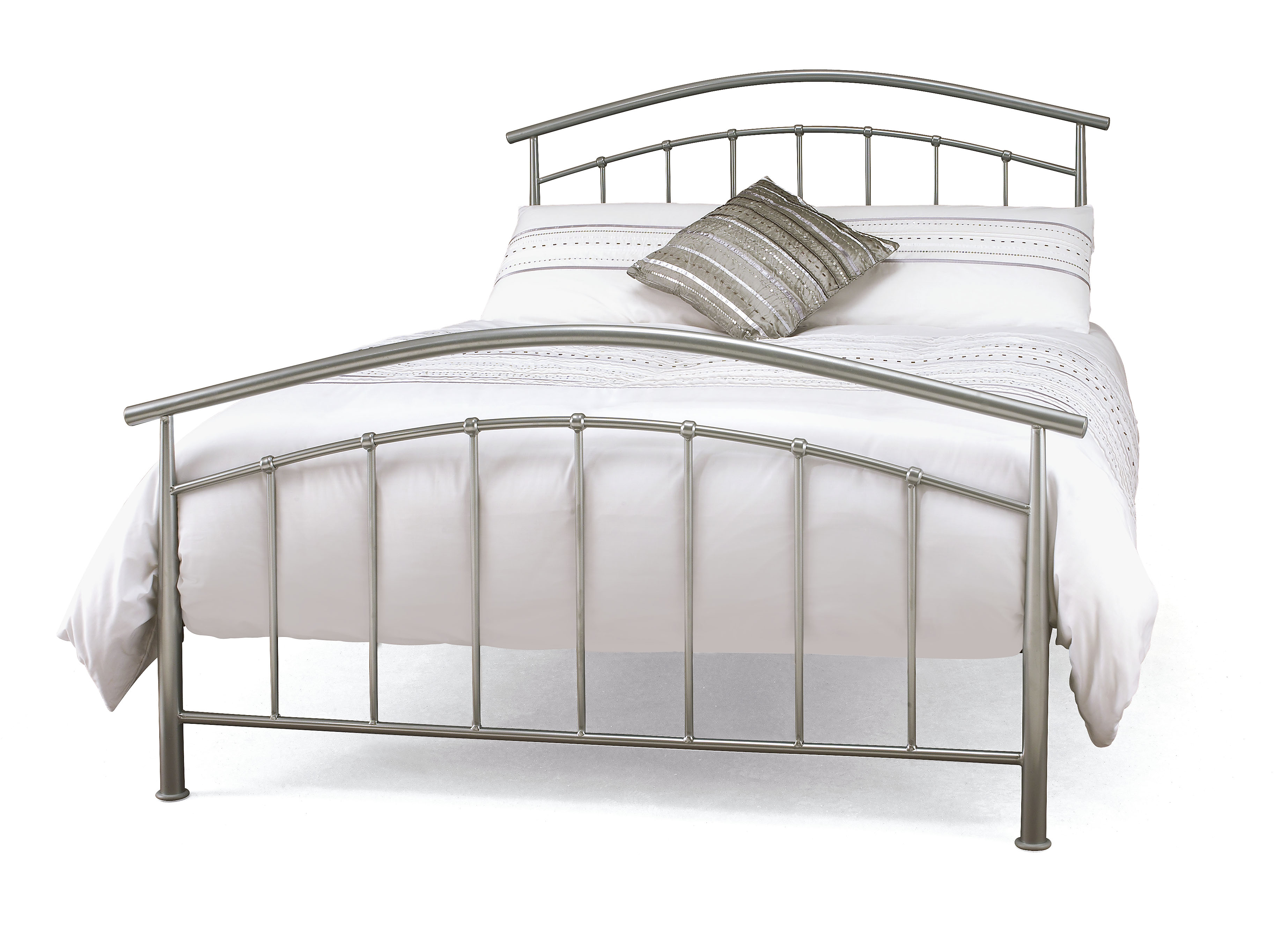 Serene Mercury Pearl Silver Metal Frame Bed 99 Beds Direct Warehouse Gainsborough Lincolnshire