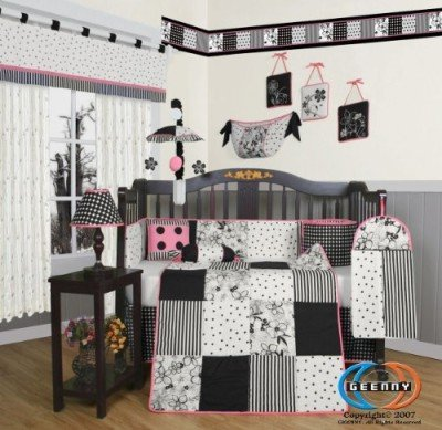 Geeny-Black-White-Dot-13pc-Crib-Bedding-Set