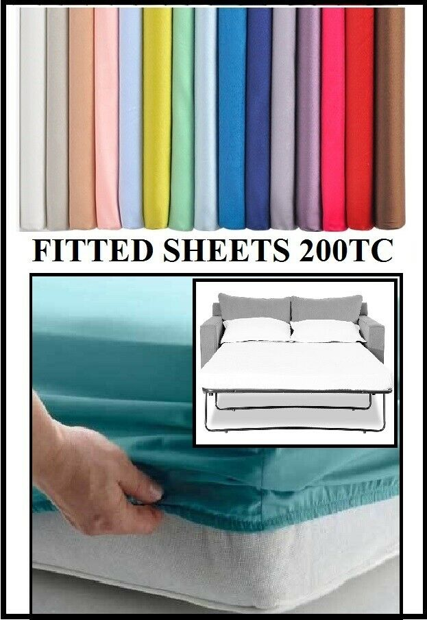 Sofa Bed / Pull Out Bed Fitted Sheet (Various Sizes & Colours)