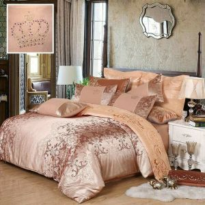 Beige Gold 4 Pce Jacquard Silk Duvet Cover + Pillow Cases CROWN