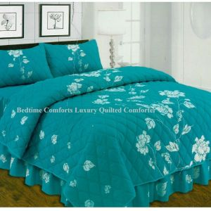 """Jade Green Floral Design """"QUILTED"""" Bedspread Comforter & Pillowcase/s CHARISMA"""