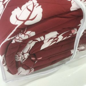 """Burgundy Floral Design """"QUILTED"""" Bedspread Comforter & Pillowcase/s CHARISMA"""
