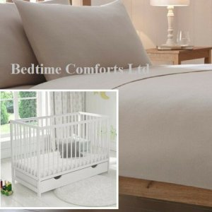 "Cot Bed / Travel Cot Luxury Soft Flannelette Flat Sheet 55"" X 71"" BEIGE"