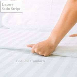 Satin Stripe Hotel Quality Fitted Sheet Various Sizes