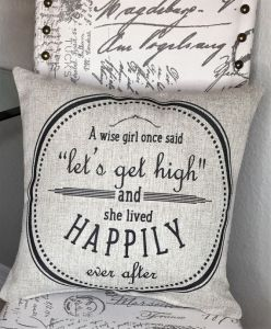 Let's get high throw pillow