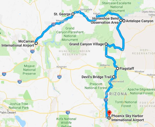 Vegas To Phoenix In Hours The Ultimate Grand Canyon Road Trip - Grand canyon tourist map
