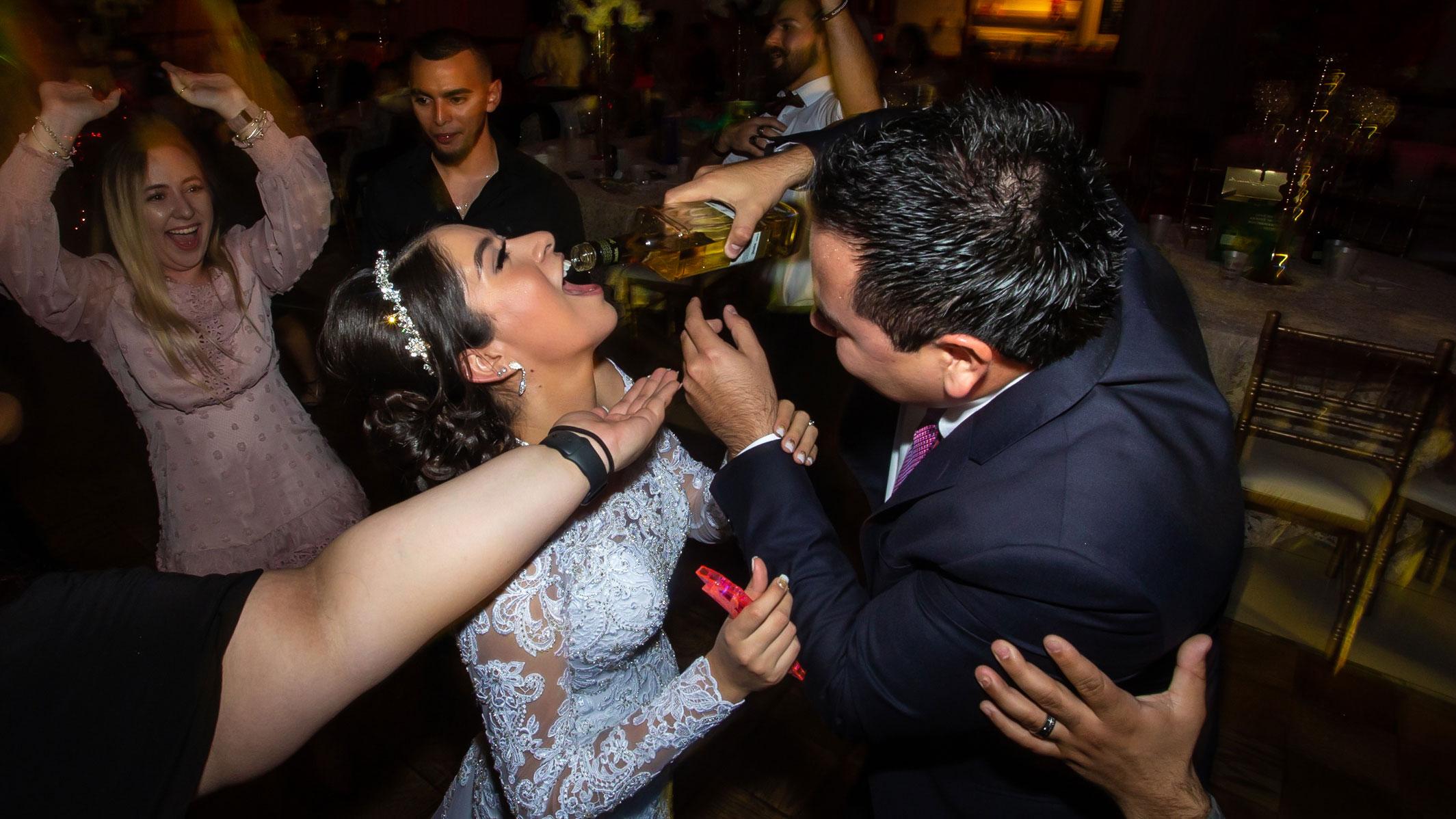 Real del Valle Event Center bride getting drunk