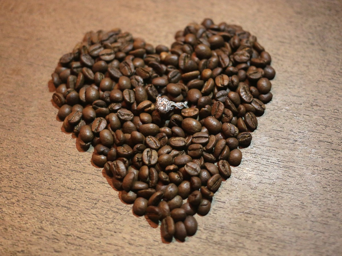 coffee bean heart engagement ring