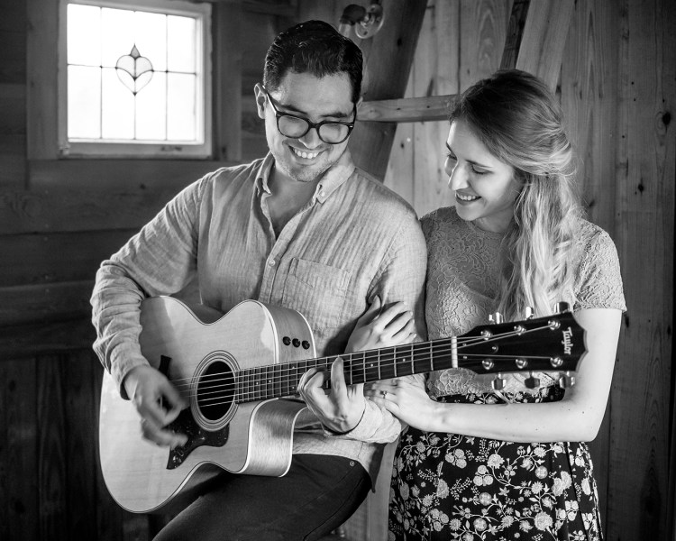 black and white guitar engagement photo shoot