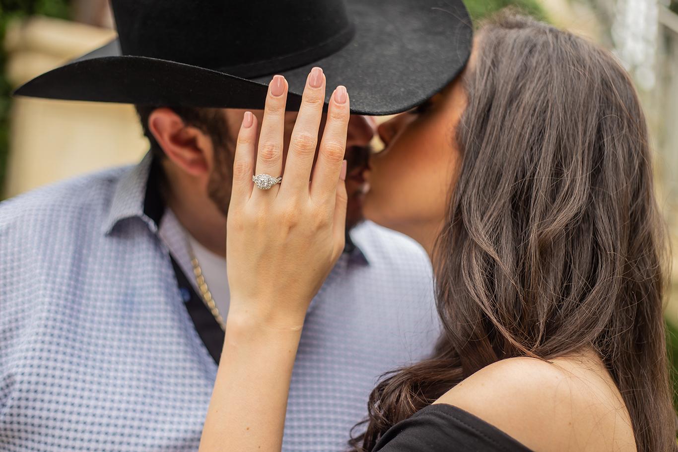 cowboy kiss and engagement ring