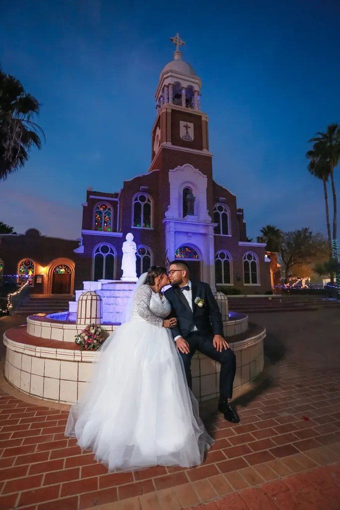 wedding day portrait at Our Lady of Guadalupe Mission texas